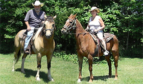 Matt on Cherokee & his wife, Sande on Seneca Chief spend a lovely afternoon at the Triple T Ranch, Findlay, Ohio